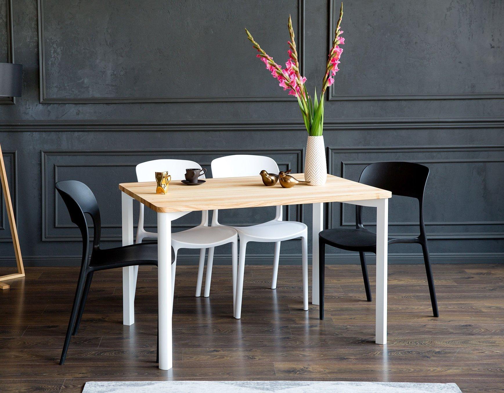 TRIVENTI Ashwood Dining Table 9x9cm   White Round Legs