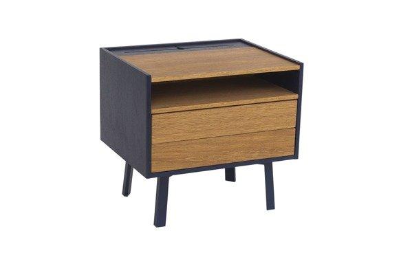 DIAMOND 2 Drawer Bedside Table - 50x40x47cm - Oak / Navy Blue