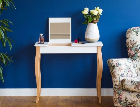 LILLO Dressing Table with Mirror - 85x35cm White