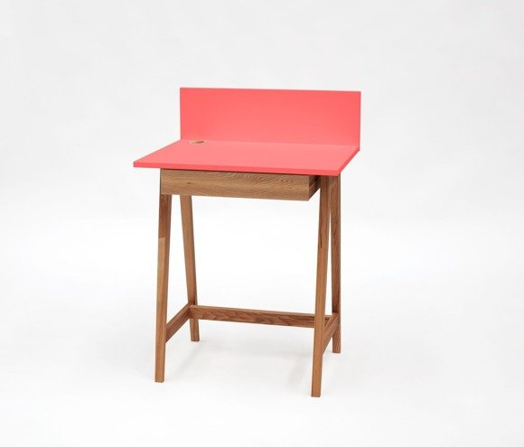 LUKA Writing Desk 65x50cm with Drawer Oak / Living Coral