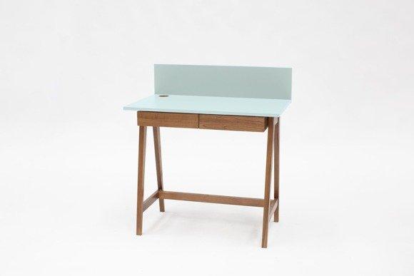 LUKA Writing Desk 85x50cm with Drawer Oak / Light Turquoise