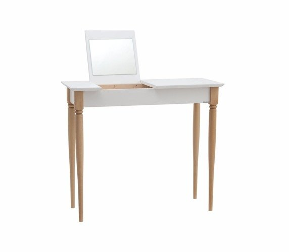 MIMO Dressing Table with Mirror – 65x35cm Black Legs / White