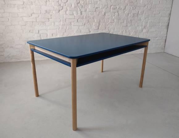 ZEEN Dining Table with Shelf 140x90x75cm Ashwood Petrol Blue