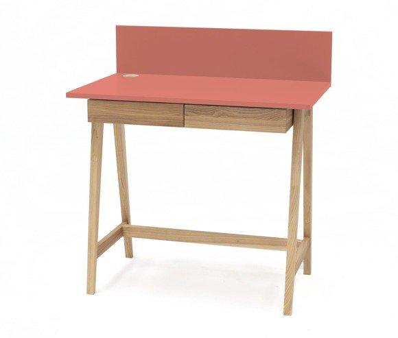 LUKA Eschenholz Schreibtisch 110x50cm mit Schublade / Koralle