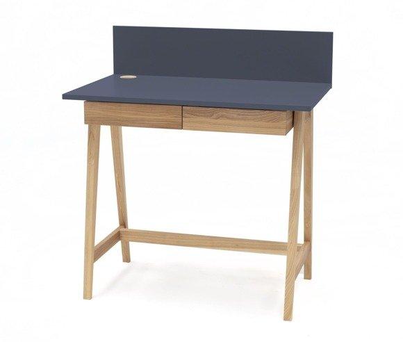 LUKA Eschenholz Schreibtisch 85x50cm mit Schublade / Graphit