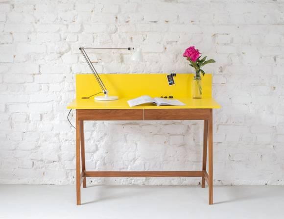 LUKA Schreibtisch 110x50cm mit Schublade Eiche / Gelb