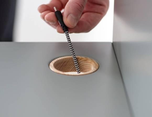 LUKA Schreibtisch 110x50cm mit Schublade Eiche / Marineblau