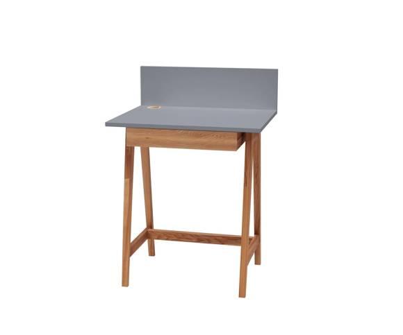 LUKA Schreibtisch 65x50cm mit Schublade Eiche / Dunkelgrau
