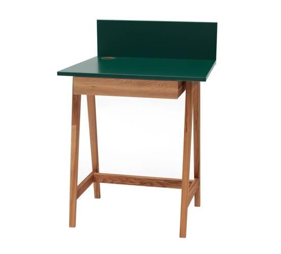 LUKA Schreibtisch 65x50cm mit Schublade Eiche / Flaschengrün