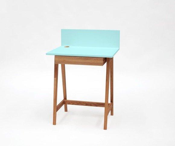 LUKA Schreibtisch 65x50cm mit Schublade Eiche / Helles Türkis