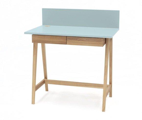Luka Eschenholz Schreibtisch 110x50cm mit Schublade / Helles Türkis