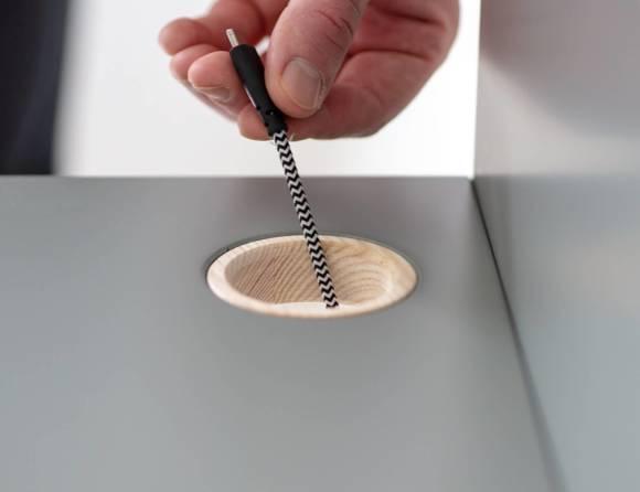 Luka Eschenholz Schreibtisch 110x50cm mit Schublade / Rosa