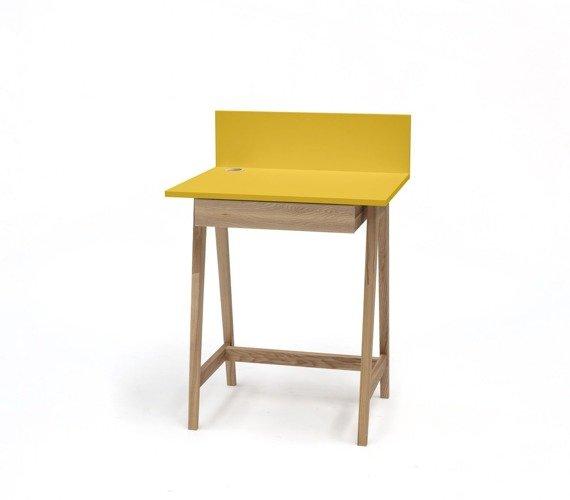 Luka Eschenholz Schreibtisch 65x50cm mit Schublade / Gelb
