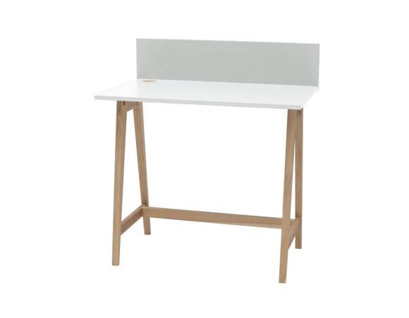 Luka Eschenholz Schreibtisch 85x50cm / Weiß