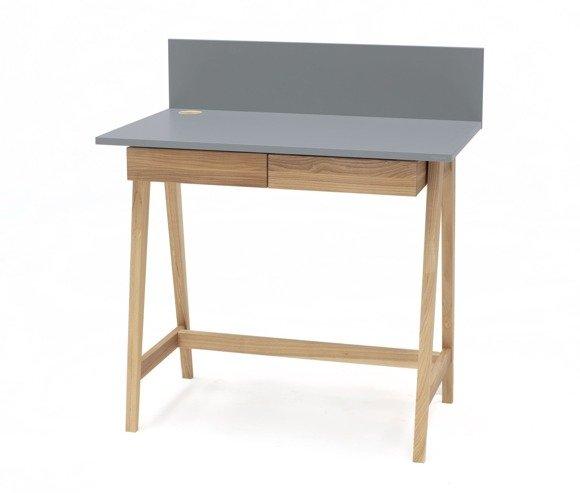Luka Eschenholz Schreibtisch 85x50cm mit Schublade / Dunkelgrau