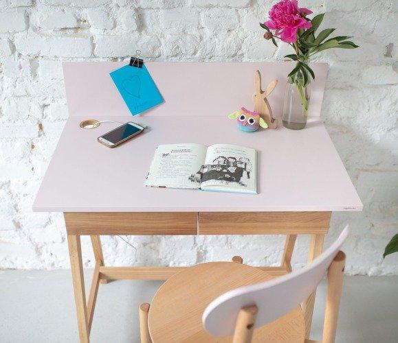 Luka Eschenholz Schreibtisch 85x50cm mit Schublade / Rot