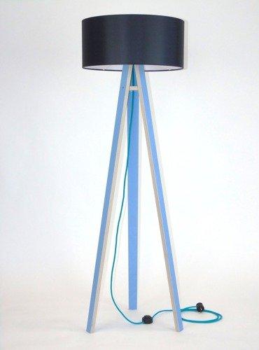 WANDA Stehlampe 45x140cm - Blau / Schwarz Lampenschirm / Turkis