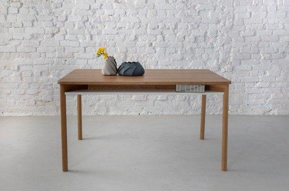 ZEEN Esstisch mit Regal 140x90x75cm - Eichenholz